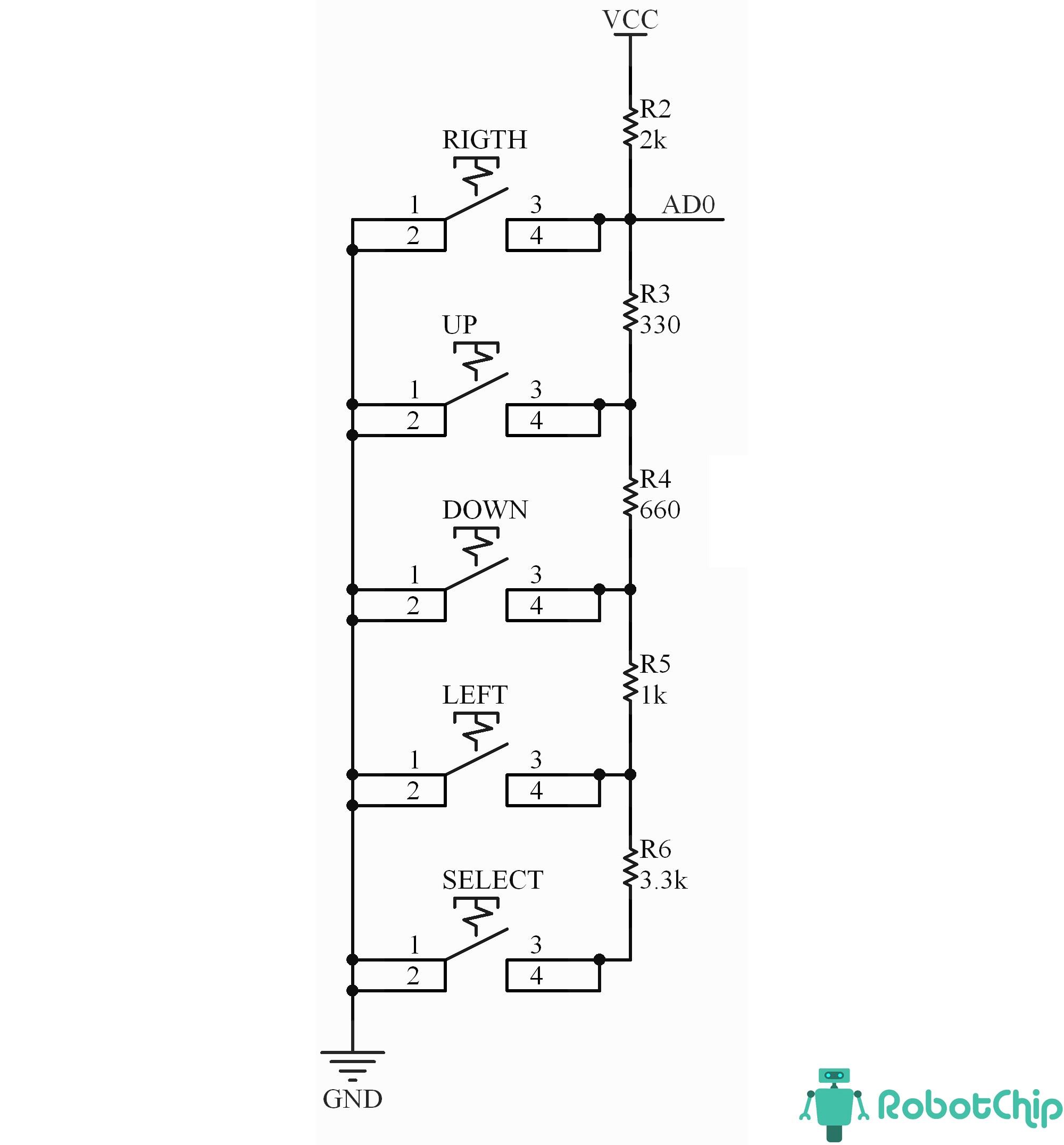 Схема LCD модуля keypad (LCD1602, 2x16, 5V)