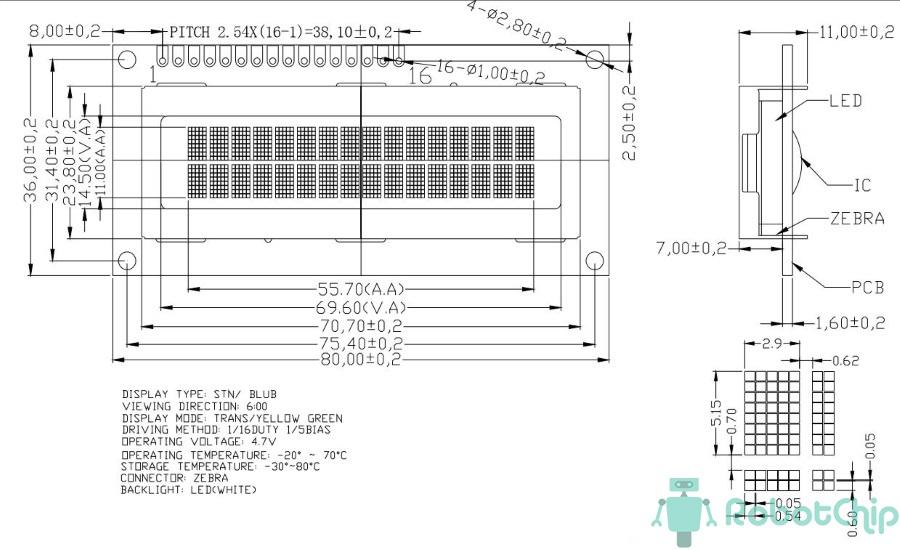 Габаритные размеры LCD-дисплея 1602A