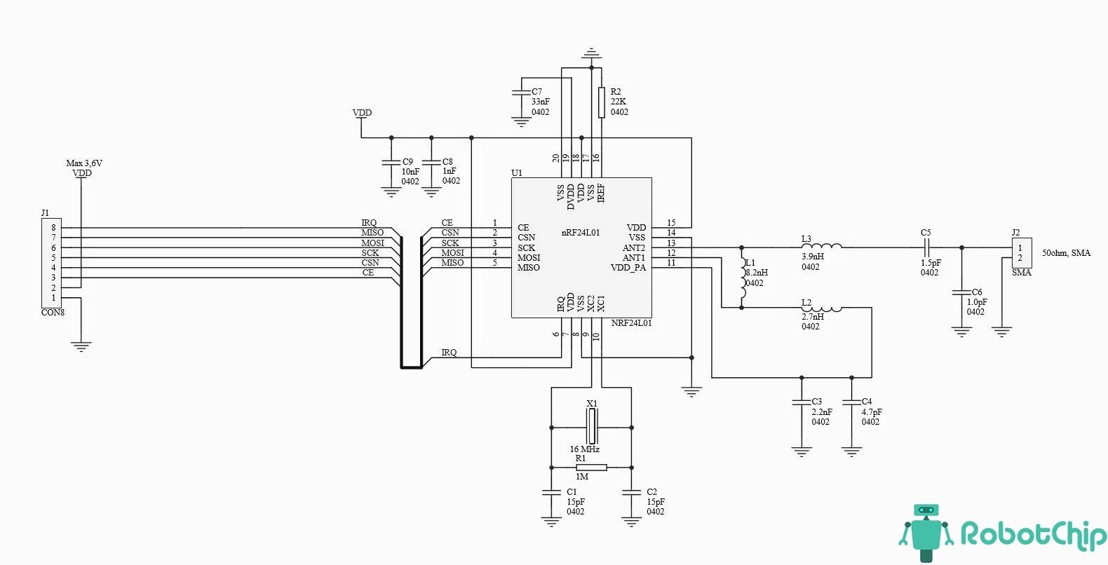 Схема радио модуля NRF24L01+