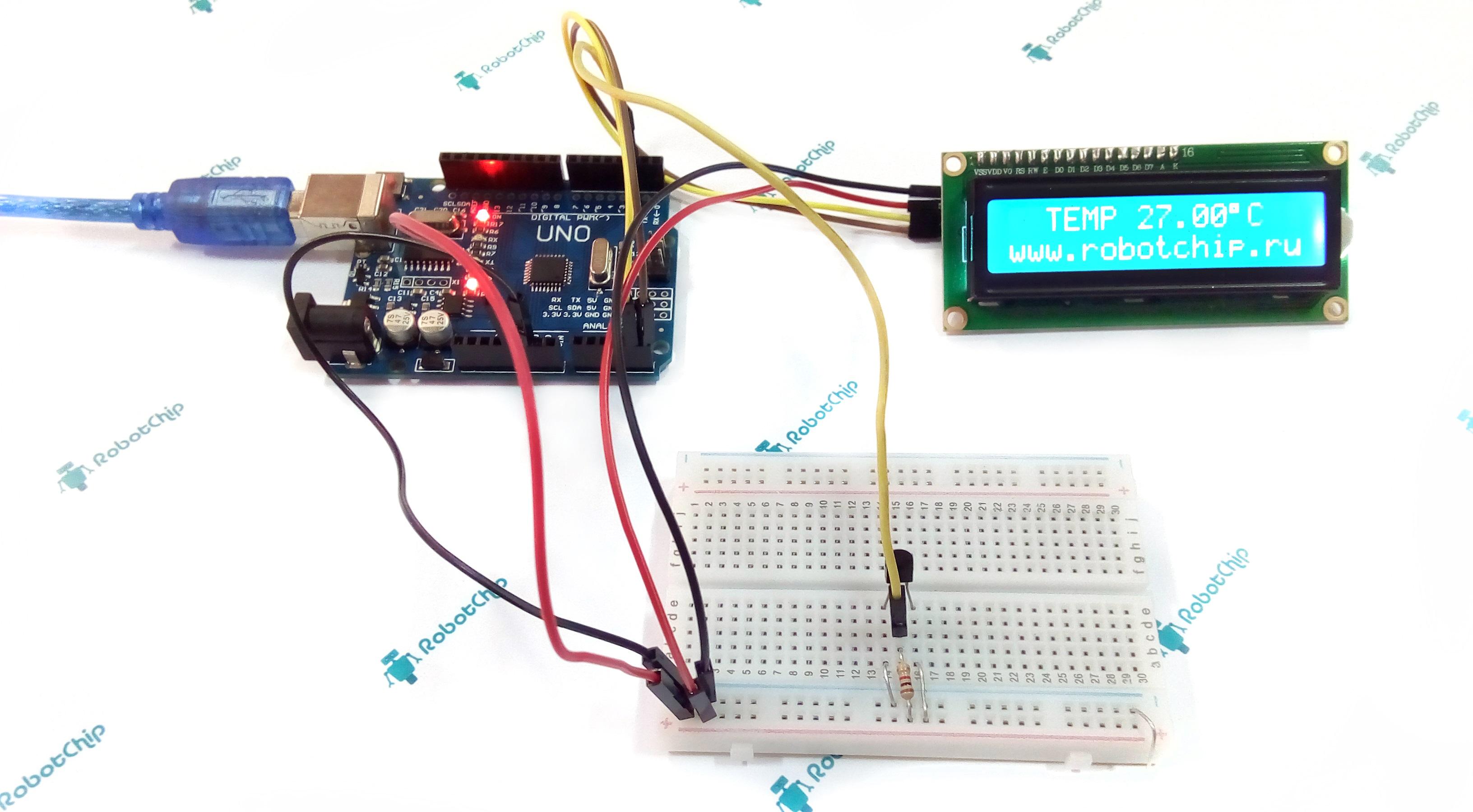 Датчик температуры DS18B20 и LCD дисплей