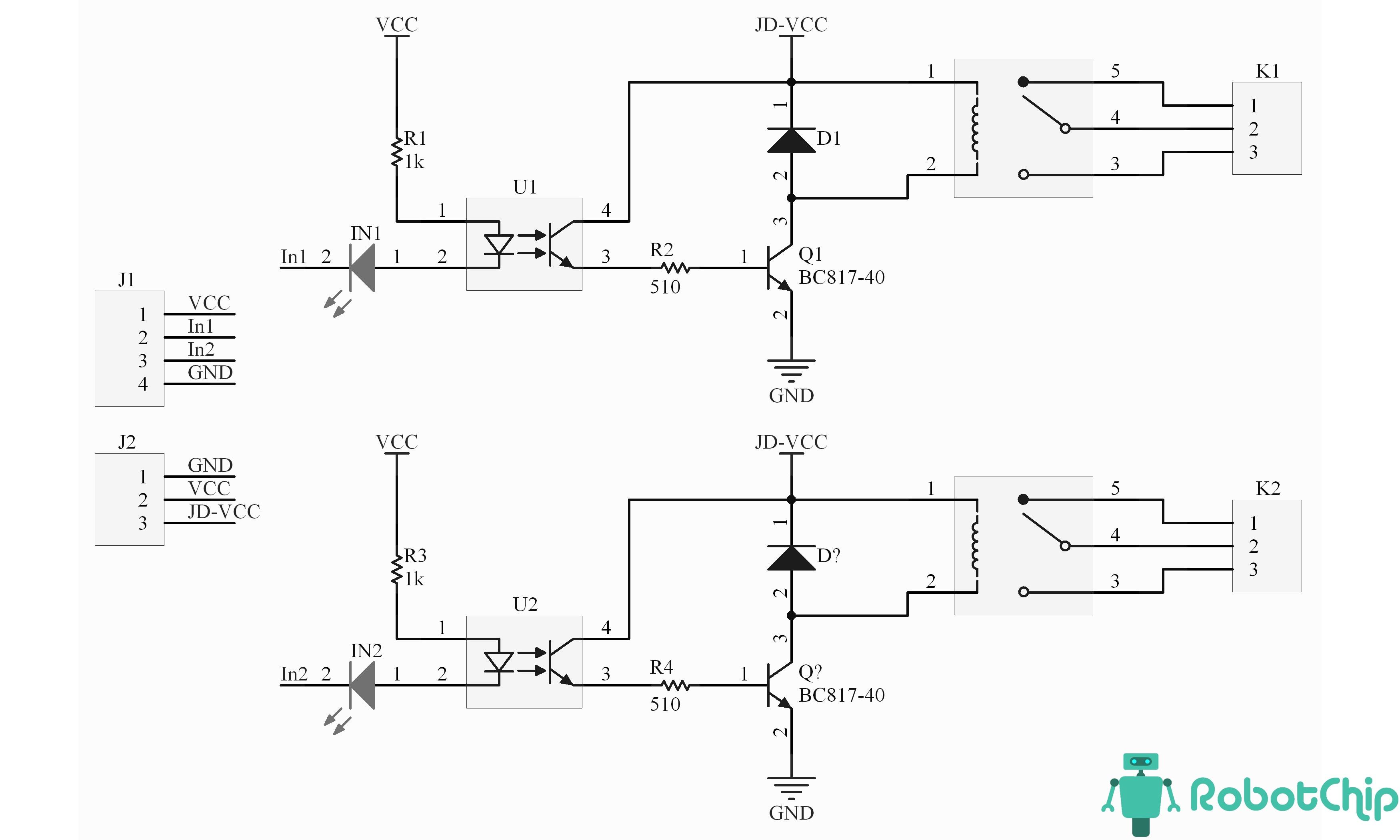 Схема модуля реле 2-х канального
