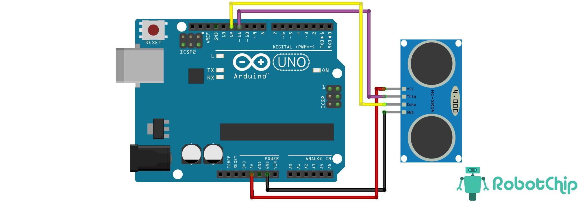 Подключение ультразвукового датчика расстояния HC-SR04 к Arduino