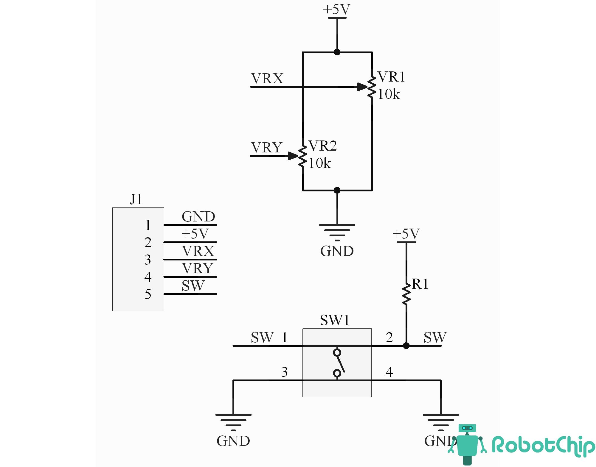 Схема двухосевого джойстика (KY-023, PS2)