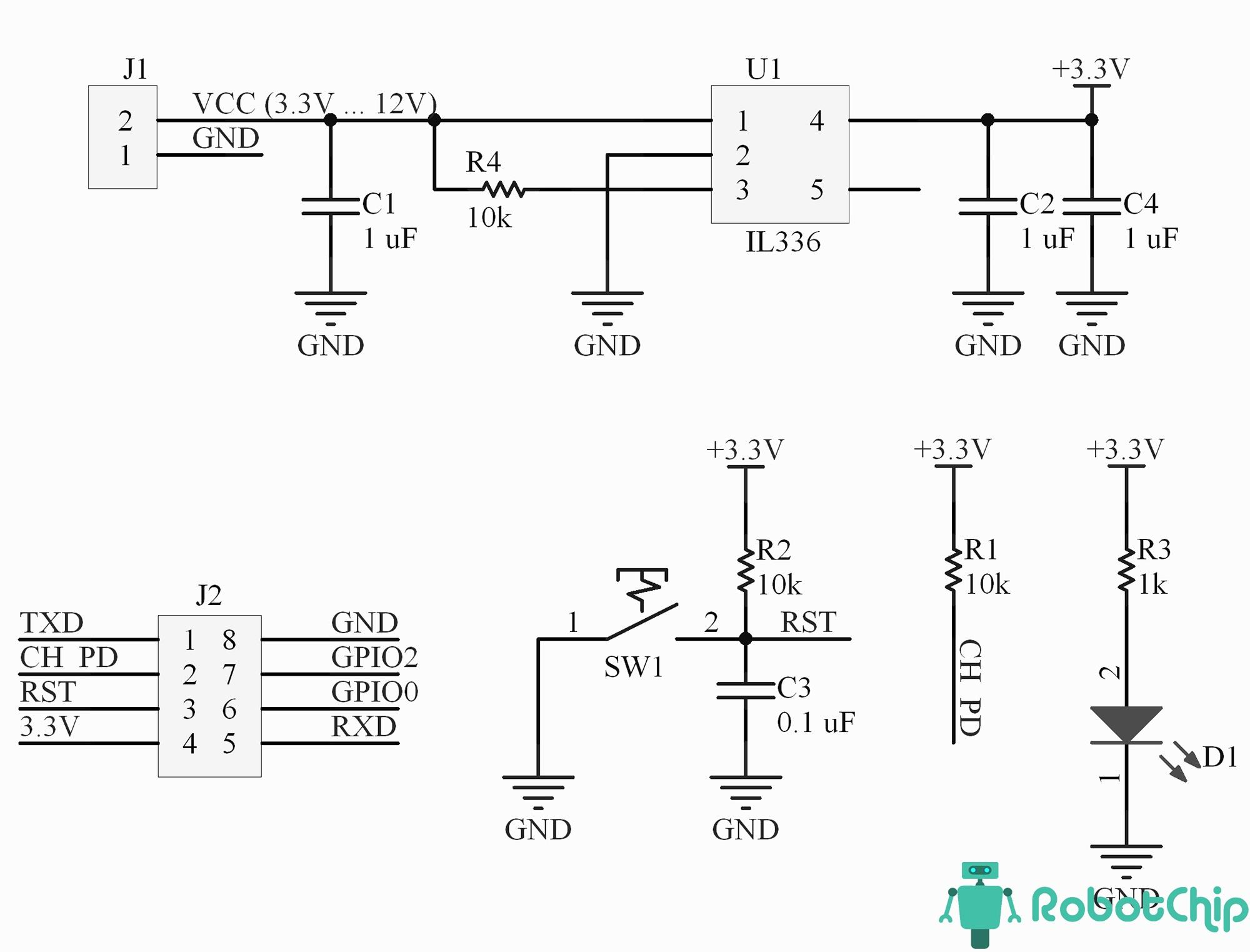 Принципиальная схема модуля DHT11 для ESP-01