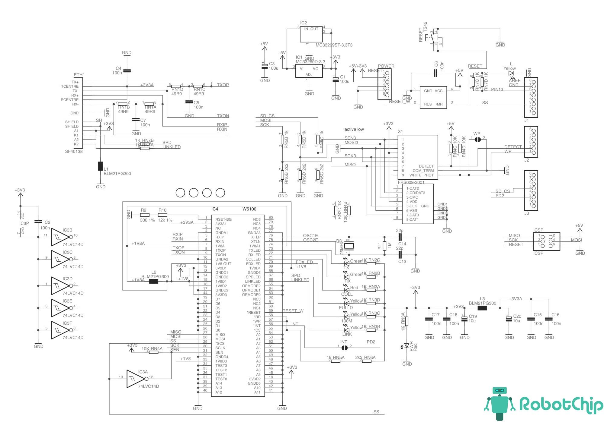 Принципиальная схема Ethernet Shield W5100