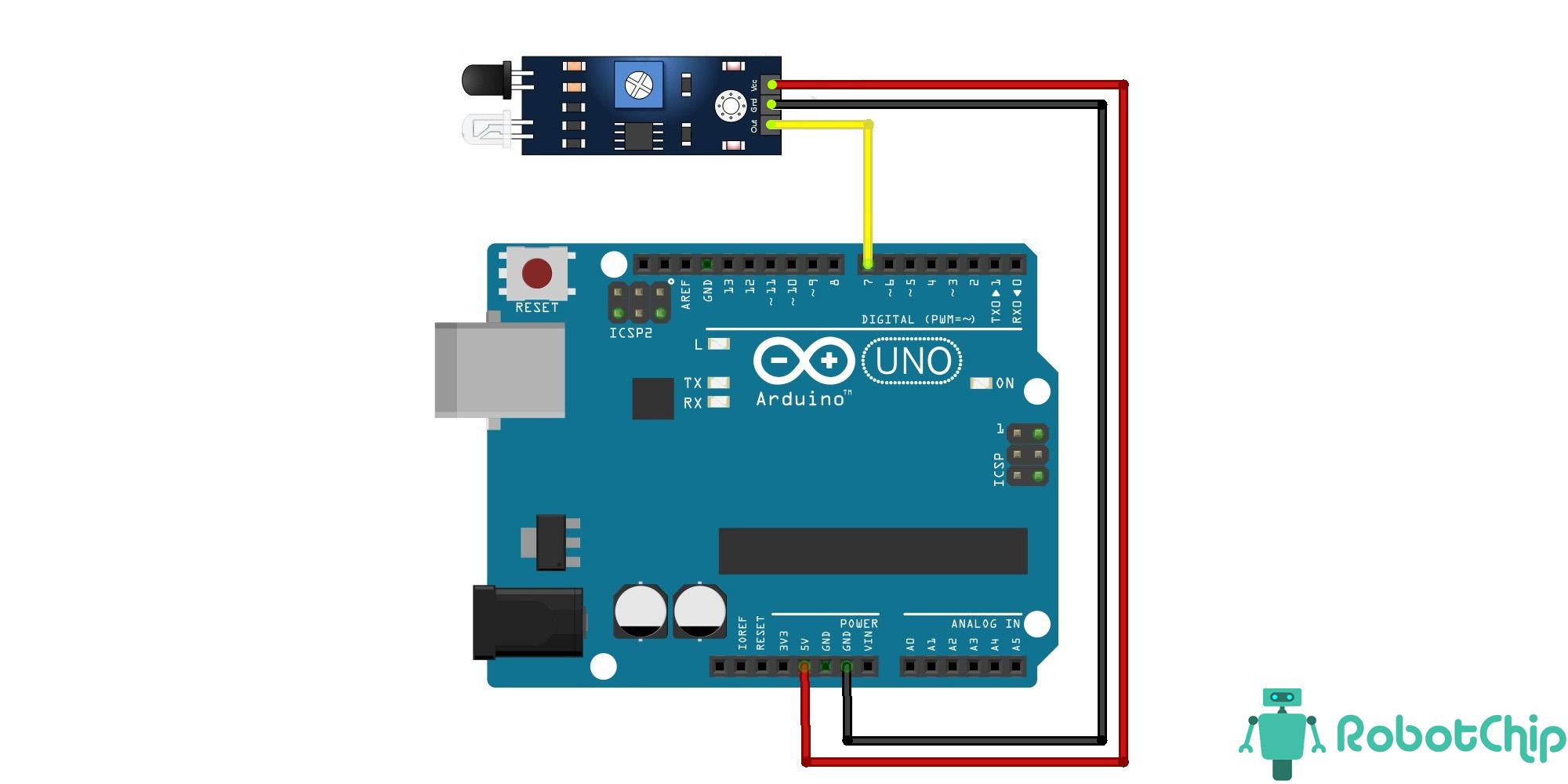 Подключение инфракрасного модуль препятствия, LM393 к Arduino