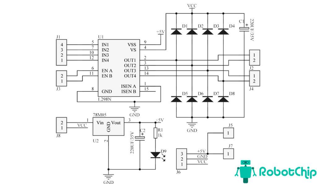 Принципиальная схема модуляL298N
