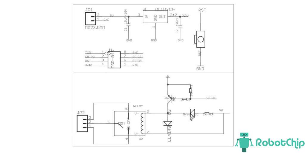 Схема модуля реле для ESP8266-01S
