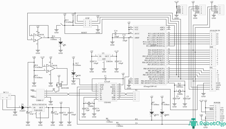 Принципиальная схема Arduino UNO R3 (DCcduino, CH340G)