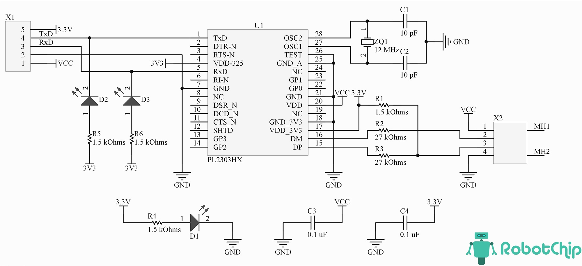 Принципиальная схема PL2303HX