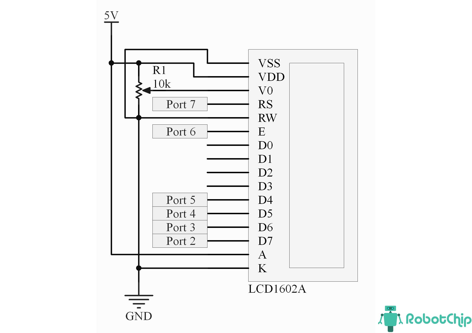 Схема подключения LCD-дисплея 1602A (LCD1602A)