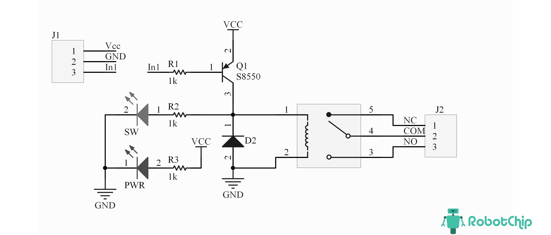 Схема модуля реле 1-о канальный