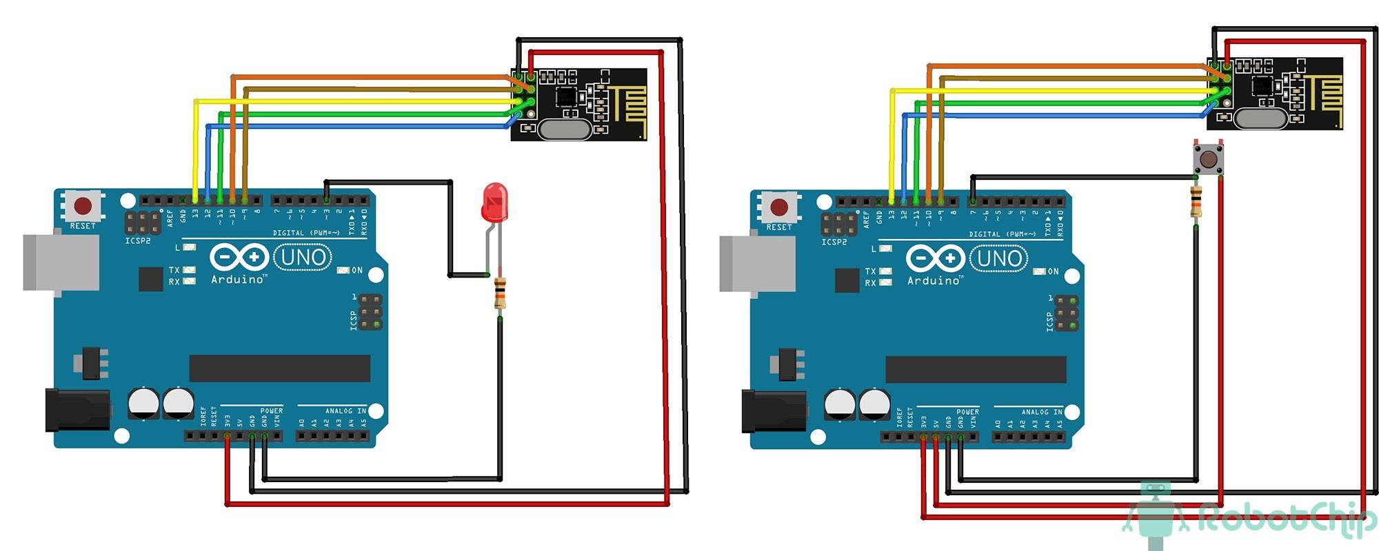 Схема подключения радио модуля NRF24L01+ к Arduino
