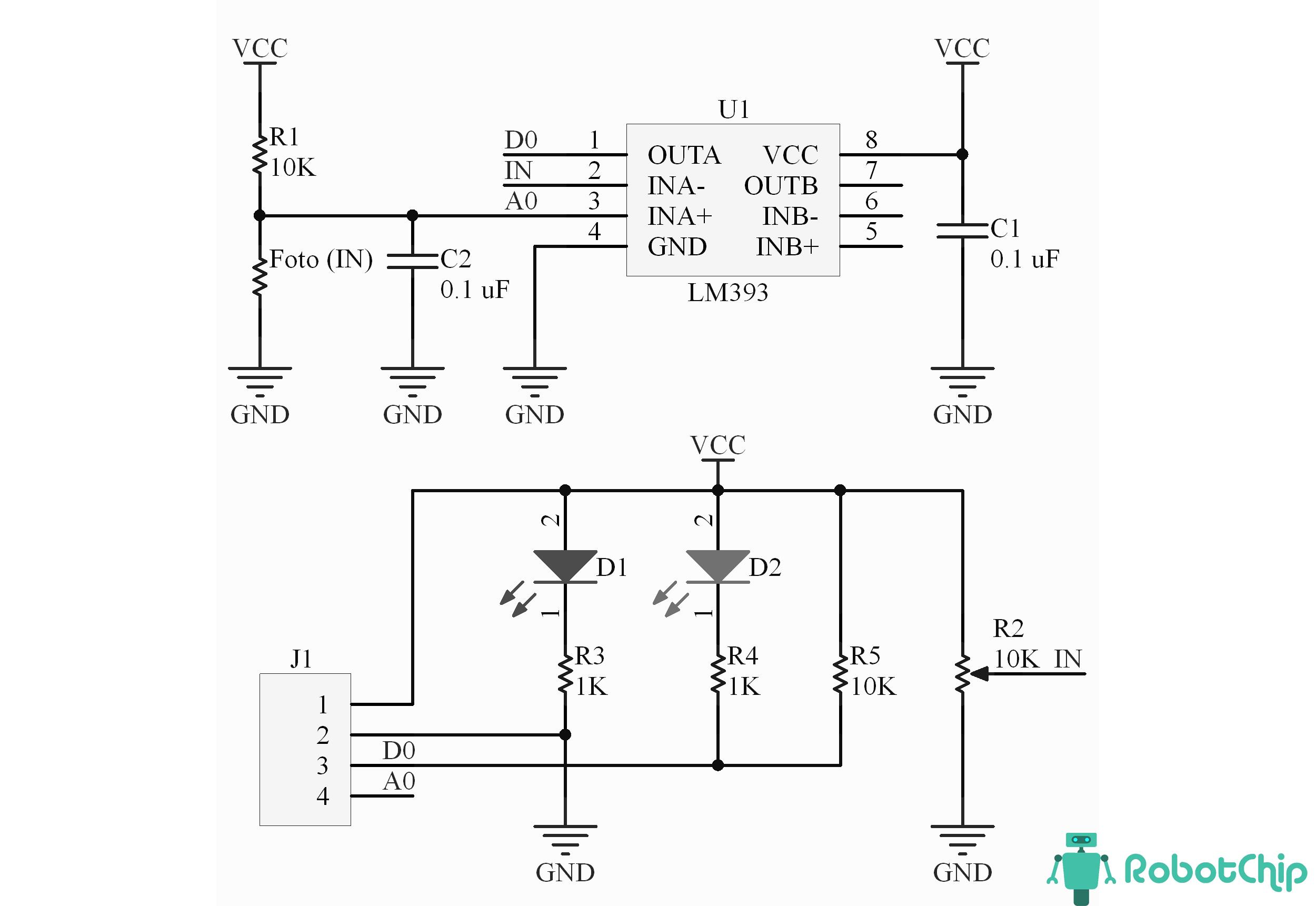 Схема модуля освещенности, LM393
