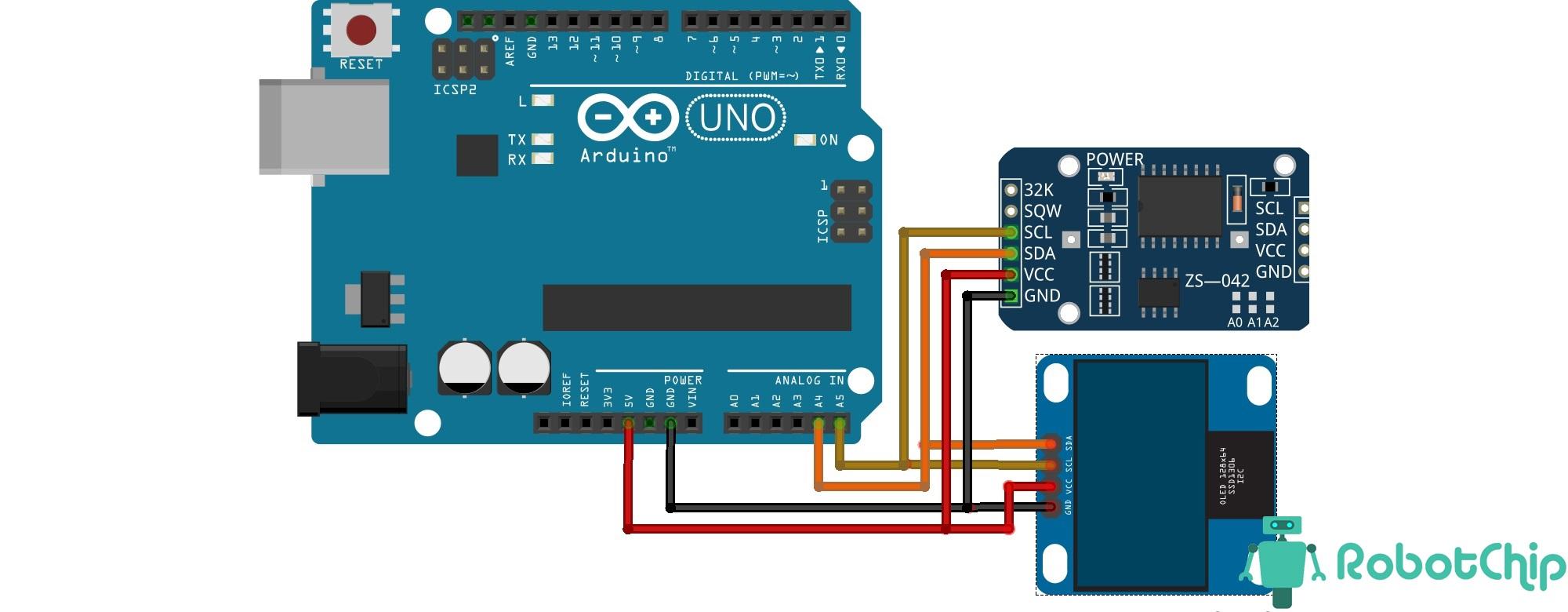 OLED часы (термометр) на arduino и DS3231