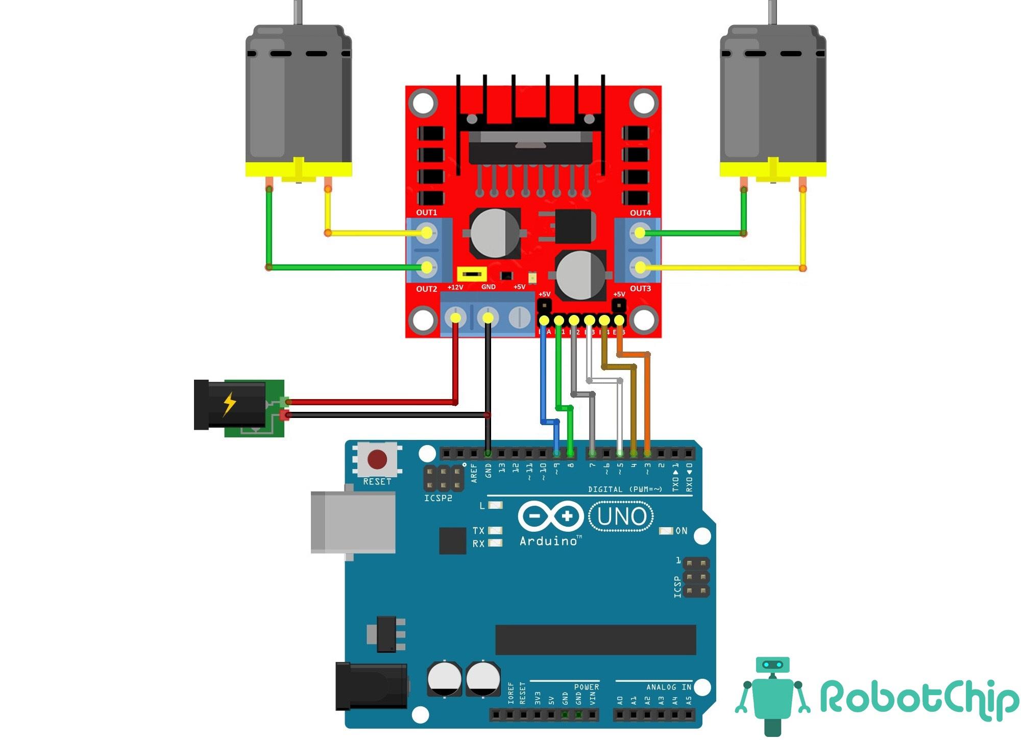 Подключение L298N к Arduino (коллекторный двигатель)