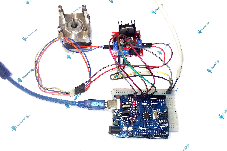 Подключение L298N к Arduino (шаговый двигатель)