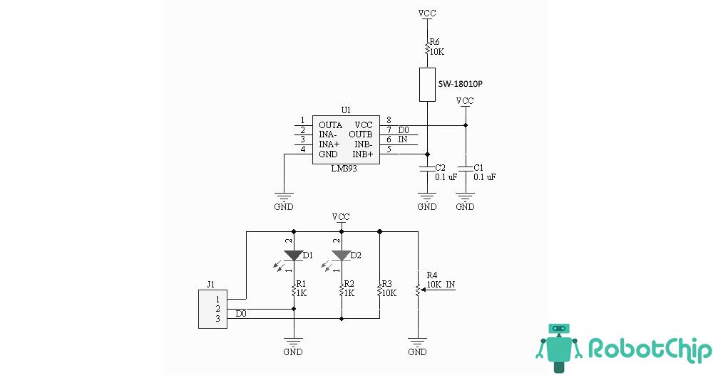 Схема модуля вибрации SW-18010P, LM393