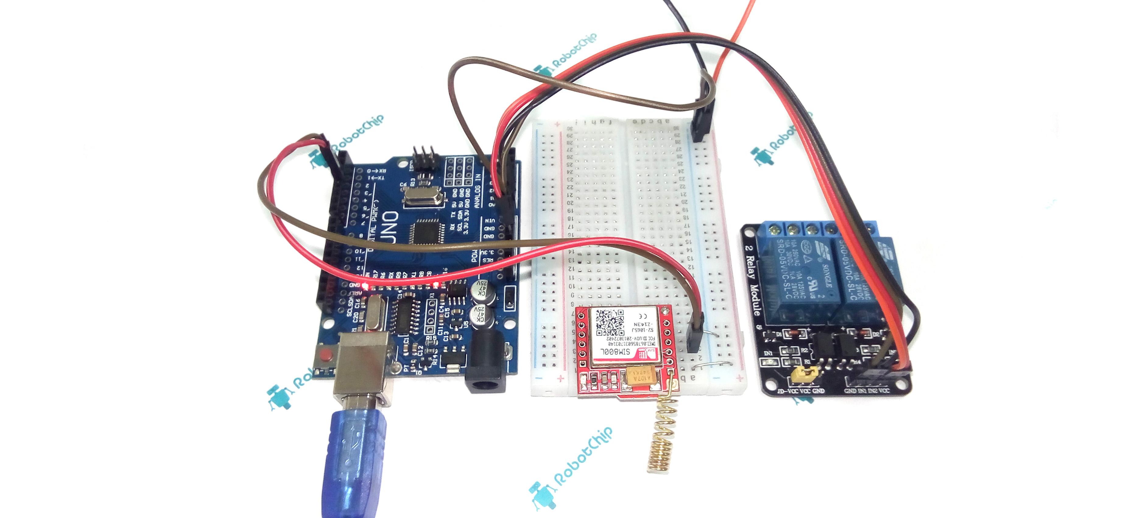 Управление нагрузкой через SMS (GSM) и Arduino.